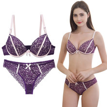 Buy Women Sexy Bra Panty Set Lace Flower Embroidery Lingerie Push Deep V Underwear Transparent Ultra-thin Intimates Lady