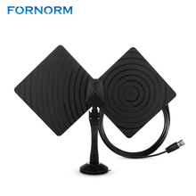FORNORM Amplified HDTV Antenna 50 Miles Range Digital Indoor Euro Adapter TV Antenna Signal Booster 10ft Long Range Cable(China)