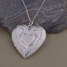 AN1450 fashion silver heart  picture frame pendant necklace beautiful classic Valentine's Day gift  top quality hot