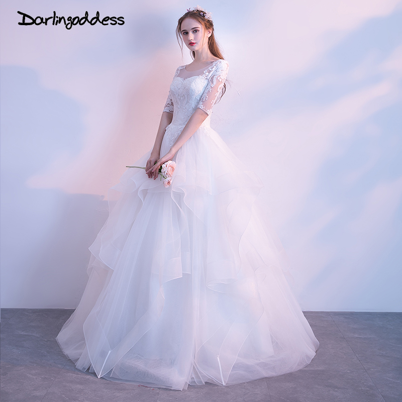 Darlingoddess Robe De Mariage Luxury Ball Gown Princess Wedding Dress Sexy Lace Half Sleeves Floor Length Wedding Gowns 2018