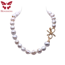 HENGSHENG 2017 New Real Freshwater Braque Pearl Necklace For Women,Big Irregular Pearl,14.5-15 mm,Bow-Knot Gold Tail Buckle(China)