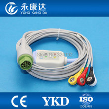 3pcs/pack Drager one piece five lead ECG cable with leadwire , Round 10 pin connector,IEC,Snap