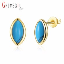 GNIMEGIL Brand Jewelry Gold Color Copper Metal Nature Turquoises Stone Olive Blue Women Christmas Gift Elegant Stud Earrings(China)