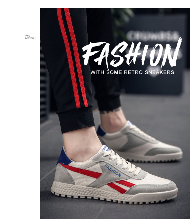 New Fashion Casual Flat Vulcanize Shoes For Men Breathable Lace-up Shoes Footwear Striped Shoes Flax And Cattle Cross Stitching 28 Online shopping Bangladesh