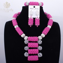 Hot Pink / Fuchsia Nigerian African Bride Wedding Jewelry Sets New Big Design Bridal Jewelry Set Dubai Silver Costume Necklaces
