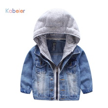 Spring Handsome Boys Jacket Outwear Coat 2017 Cowboy Kids Children Denim Coat Child Fashion Zipper Hooded Clothes 2-7 Years(China)