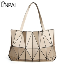 2017 Special Offer New F Shoulder Bag Women Luminous Sac Baobao Geometry Tote Quilted Laser Plain Folding Handbags Bolso(China)