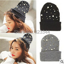 2015 New Fashion Unisex Soft Beanie Pearl Knitting Hat women ball cap Headgear Men Casual Pom Girl Bonnet Accessories Gift