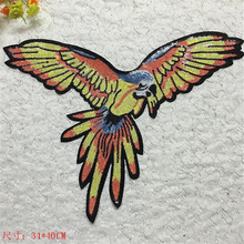 Embroidered sequins 40cm fly large parrot patches for clothes with it clothing bike patch patchwork cotton fabric new year gifts