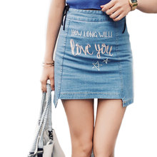 2017 Europe Style How Long Will Love You Street Fashion Embroidery Letters Irregular Zipper Empire Blue Denim Mini Skirts Women