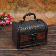 GUSHIFU Wooden storage jewelry box small Vintage wood box Metal Lock Jewelry Treasure Chest Case Manual Desktop ornaments(China)