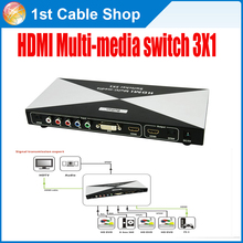 Mixed HDMI component DVI to HDMI converter switcher with remote&Spdif digital audio out