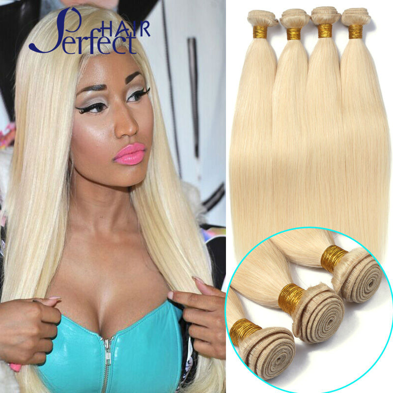 613 Blonde Virgin Hair 4Pc Lot 100g/pc Unprocessed Platinum Blonde Virgin Hair 100% Cheap Brazilian Human Hair Weave Bundles<br><br>Aliexpress