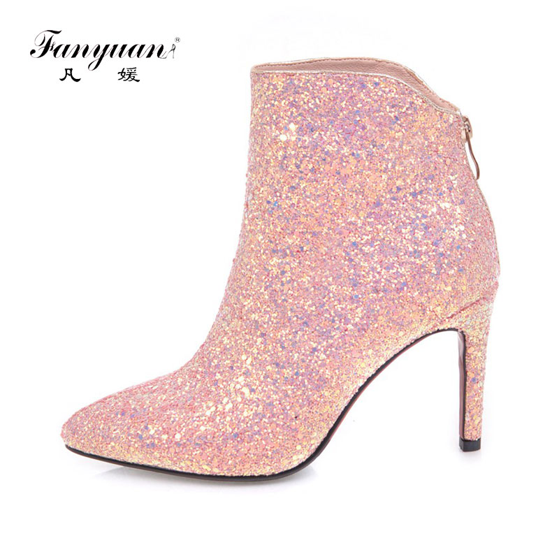 Fanyuan glitter ladies ankle boots fashion pointed toe boots diamond wedding  booties thin heel party boots. US  38.07. Fanyuan Hot sex high heels ... ca0133461c5c
