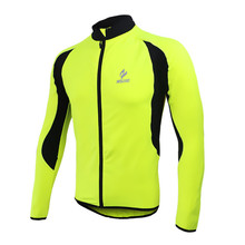Arsuxeo Men's Thermal Fleece MTB Bike Bicycle Cycling Jersey Outdoor Sports Clothing Jacket Fluorescent Green for Spring Autumn