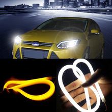 2pcs 60cm DRL Flexible LED Tube Strip Style Daytime Running Lights Tear Strip Car Headlight Turn Signal Light Parking Lamps(China)