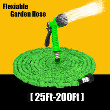 25-200FT Expandable Magic Flexible Garden Hose For Car Water Pipe Plastic Hoses To Watering With Spray Gun Garden Watering Cool