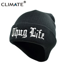 CLIMATE THUG LIFE Hat Beanie Black Winter Warm Knit Skullies BeanieThug Life Casual Cool Black Hip Hop Warm Hat For Men Women