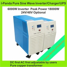 2years warranty LCD DC24V or DC48V 6000W Home UPS Inverter Pure Sine Wave Inverter With Charger backup power inverter 75A 50A