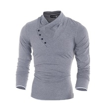 Buy 2017 New Autumn Mens 100% Cotton Oblique Button Collar T Shirt Fashion Men Long Sleeve T Shirts Slim fit T-Shirt Solid Tee for $8.18 in AliExpress store