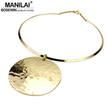 MANILAI Punk Women Collar Choker Necklace 2017 Maxi Big Circle Metal Pendants Torques Statement Necklaces Golden & Silver Color(China)