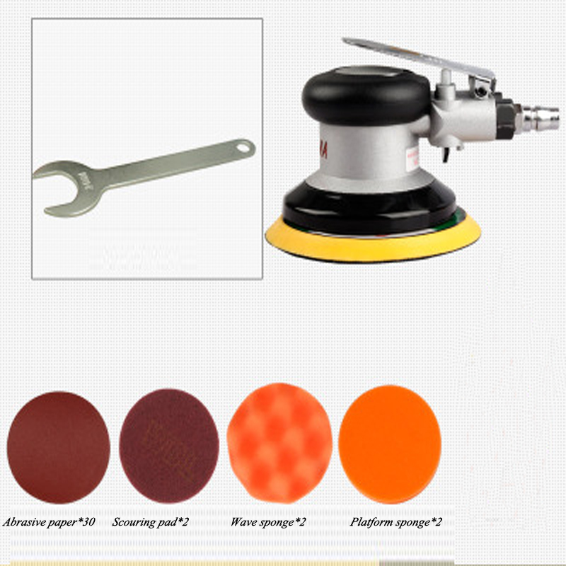 LHQ-HQ Portable Practica Pneumatic 5-inch Suction Type Pneumatic Machine Hand-held Sand Machine Hand Tools Industrial Automatic Sanding Machine