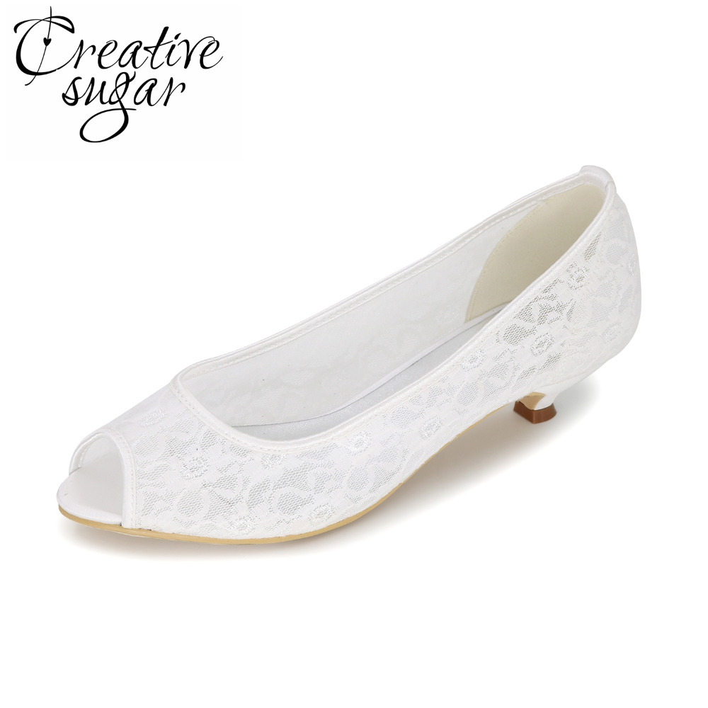 Creativesugar see through lace open peep toe woman low heel pumps lady wedding party shoes pink white ivory blue black tangerine<br>