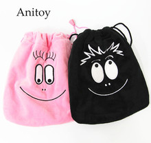 2pcs/lot Anime Cartoon Cute Barbapapa Plush Drawstring Bag Coin Pocket Soft Stuffed Animal Dolls for Children Kids' Toy AP0236(China)