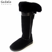 G&Zaco Luxury New Winter Natural Sheepskin Boots Knee-high Snow Boots Genuine Leather Tube Bow Warm Wool Sheep Fur Long Boots(China)