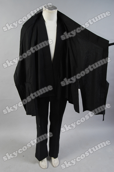 Tron: LEGACY Kevin Flynn Black Whole Set  Robe+Coat+Pants Halloween Cosplay Costume