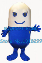 pill mascot costume blue wholesale adult size cartoon pill capsula theme anime cosply costumes advertising fancy dress kits 2816(China)