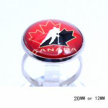 Canada Men's National Ring Ice Hockey Charms NHL Sport Jewlery Round Glass Dome Silver Plated  Ring For Women Girl Adjustable
