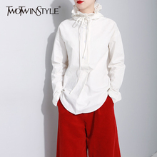 TWOTWINSTYLE Hooded Women's Shirt Ruffles Lace Up Long Sleeve High Waist Blouses Plus Size 2018 Spring Fashion Clothing(China)
