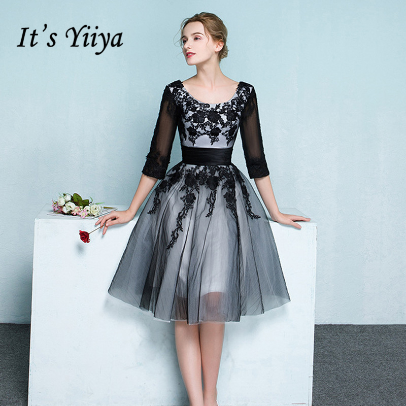 It's Yiiya Black O-Neck Half Sleeve Evening Dresses Fashion Flowers Tulle Embroidey Quality Luxury Formal Dress LX345