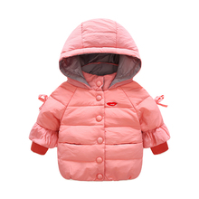 New fashion nine points sleeves boy and girl children's clothing down jacket cute bow warm short paragraph white duck down jacke