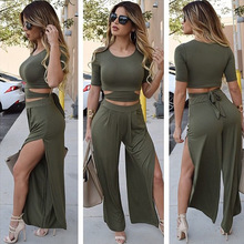 2 Pieces Sexy Women Sets Club Wear 2016 Sexy Bodycon Short Tops T-shirts and Wide Leg Pants Evening Party Ladies Suits A110-11