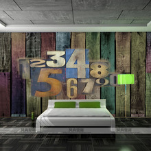 Custom 3d photo 3D stereo sofa TV background wall mural wallpaper digital personality bar wood adhesive Europe style wallpaper