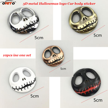Free Shipping 10pcs/lot New logo Pumpkin King Jack Skellington Skull/Bone Car emblem Stickers Auto Motorcycle Car Styling Decals(China)