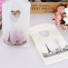 Hot Sale New Style Wholesale 50pcs/lot Eiffel Tower Mini Jewelry Plastic Gift Packaging Bags With Handles Small Gift Bags