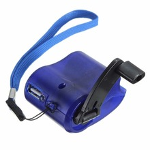 2017 New Arrival USB Travel Emergency Phone Charger Dynamo Hand Manual Charger Blue