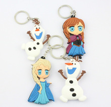 12Pcs/Lot 3D Cartoon Movie anna elsa keychain Princess Elsa Anna Olaf keychains Keyrings