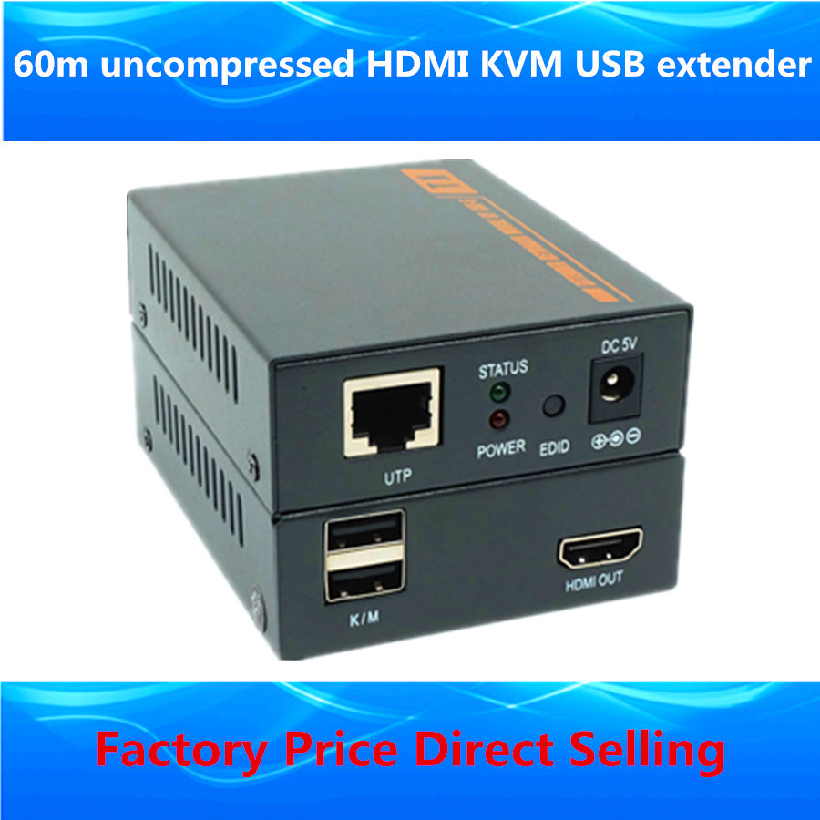 3D KVM HDMI Extender 60m Support HDMI USB Keyboard Mouse KVM Extender Over Single Cat6 Ethernet RJ45 Cable HD 1080P Up To 200ft<br><br>Aliexpress