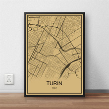 Italy city TURIN Vintage poster Krafts paper World map Retro painting art Wall Picture Living Room Cafe Bar Decor restaurant