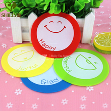4pcs Silicone Circular Cartoon Coaster mats pads Smile Happy Anti-Heat SkidProof Heart Cup Coaster Dishes Bowls mats & pads
