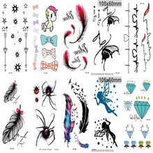 10pcs Tattoo Sleeve Body Art Water Transfer Flash Fake Temporary Tattoo Sticker Blue Black The Wind Blown Feathers Taty Tatoo