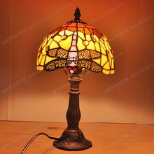 Free delivery to Europe paragraph Dragonfly glazed small lamp Tiffany bedroom study desk lamp antique children's bedside lamp(China)