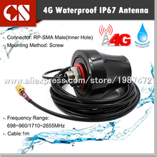 2G 3G 4G LTE Omni-Directional 700-2600MHz Multiband Outdoor Antenna RP-SMA male(inner hole)1m cable(China)