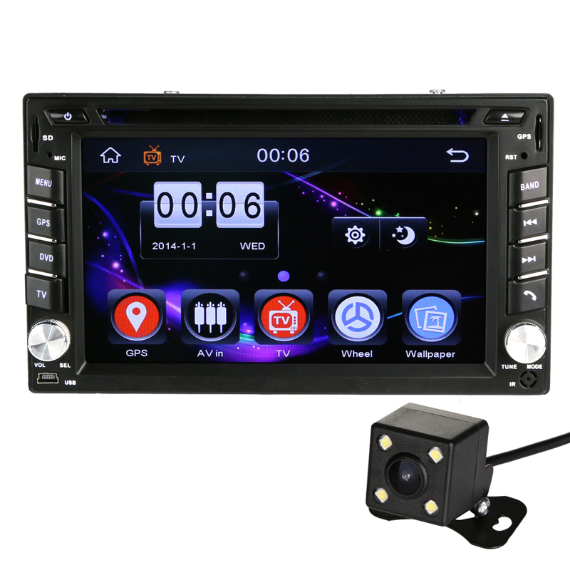 "6.2"" GPS Navigation 2Din In-dash High Definition Car Stereo DVD CD Player Bluetooth Touch Screen Auto Radio with Rearview Camera(China)"