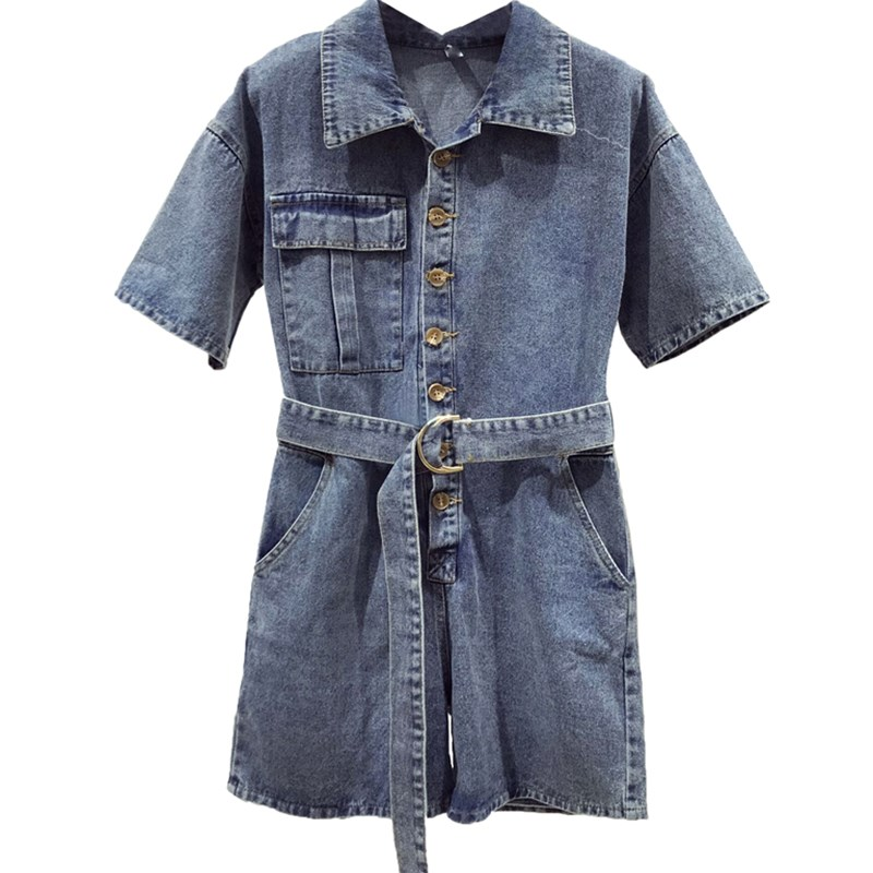 PERHAPS U blue denim turn down collar short sleeve button sash pocket playsuits highstreet J0008