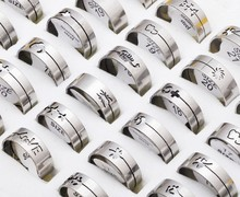 Promotion Wholesale Lots 20pcs High Quality Jewelry Lots Mixed Laser Band Men's Rings Stainless Steel Fashion Rings Free Ship(China)